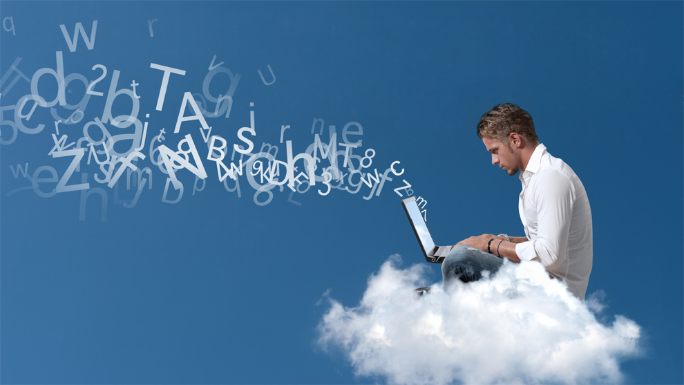 cloud computing image, man sitting with laptop on the cloud
