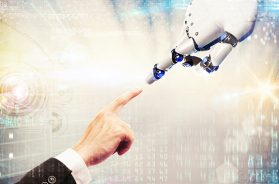 robot finger touching human finger